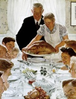 An American family celebrates a traditional Thanksgiving